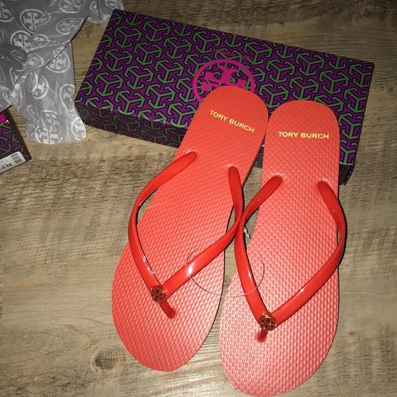 582946eb39c639 Tory Burch poppy orange flip flops